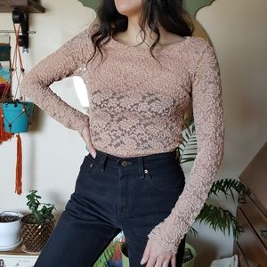 Long Sleeve Blush Pink Lace Top